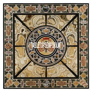 55'' Pietradura Inlaid Marble Square Dining Table Thanks Giving Arts Decorative