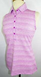 New Women's Under Armour Heather PinkWht Striped Sleeve Fitted Polo Shirt S NWT