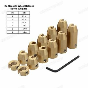 12 Pack CNC Motorcycle Reusable Brass Wheel Spoke Balance Weights Refill Kits