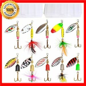 HOT NEW Fishing Lures Saltwater Bass Salmon Hard Metal Spinner Baits Kit 10pcs