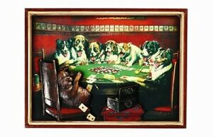Ram R169 Poker Dogs Under Table Pub Sign 3D Art w FREE Shipping