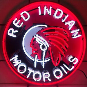 Red Indian Motor Oils Neon Sign with Silkscreen Backing 5GSIND & FREE Shipping