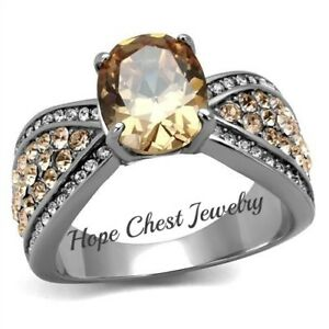HCJ WOMEN'S STAINLESS STEEL 3 CARAT CHAMPAGNE CZ ENGAGEMENT FASHION RING SZ 5-10