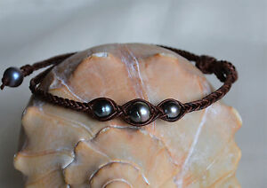 16'' Three Tahitian Pearls Braided Necklace Surf Jewelry Brown Leather Yevga