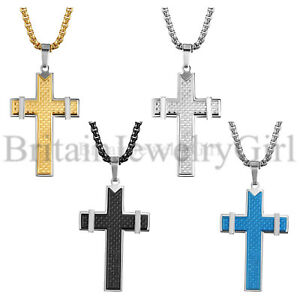 4MM Stainless Steel Chain Cross Religious Pendant Necklace for Men Women 22