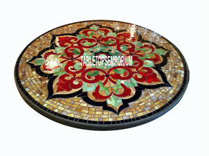 55'' Marble Real Pietradura Inlay Round Dining Table Marquetry Living Room Decor