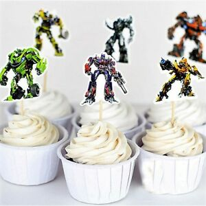 Transformers Double- Sided Cupcake Toppers/Food Picks Party Decorating Favor Set
