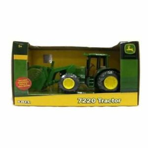 John Deere 20cm Tractor 7220 With Removable Bale Mover Kids Construction Toy