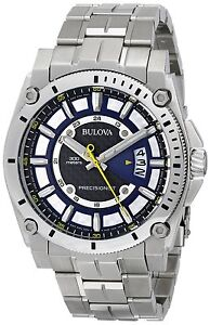 Bulova Precisionist Men's 96B131 Quartz Silver Tone Bracelet 46mm Watch