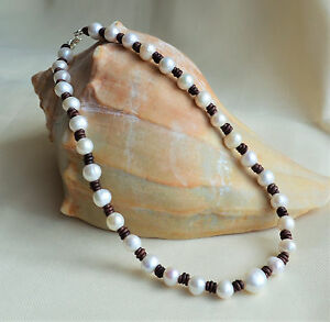 Pearl Leather Necklace Handmade Fashion Jewelry Holiday Sale Yevga 18'' long