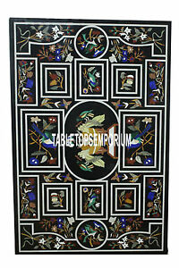 8'x3' Antique Marble Console Table Marquetry Birds Inlay Design Handmade Decor