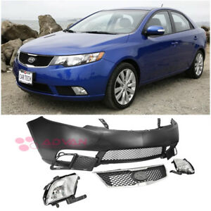 For Kia Forte 10-13 replacement Front Bumper Cover Fog Light Upper Lower Grille