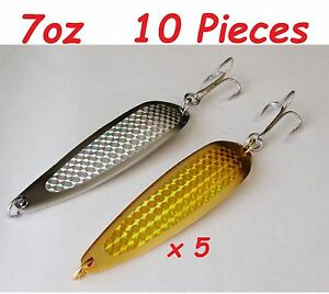 7oz Casting Spoons Fishing Lures 5 Gold & 5 Silver- Crocodile spoon style 10 pcs