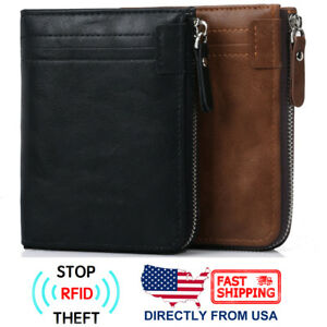 Men#x27;s RFID Blocking ID Window Zipper Pocket Leather Bifold Wallet
