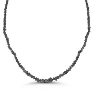 50.00 Cts Black Diamond Strand Rough Bead Necklace in 14K White Gold