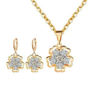 Jewelry Sets for Women Girls Gold Plated Chain Crystal Necklace Earring Set...