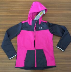 New under armour girl kids youth xlarge hood megazip jacket $110 Pink gray storm