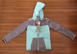 New under armour girl youth xlarge hood megazip jacket $110 Teal blue gray storm