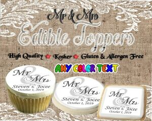 Wedding Mr and Mrs edible cookie toppers Monogram images pictures cupcakes easy