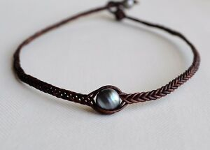 Unisex Genuine Tahitian Dark Pearl Braided Necklace Brown Leather Yevga 17.25''