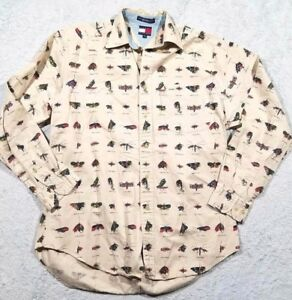 TOMMY HILFIGER Mens Medium Tan Brown Fishing Shirt Casual Lure Unique Button Up