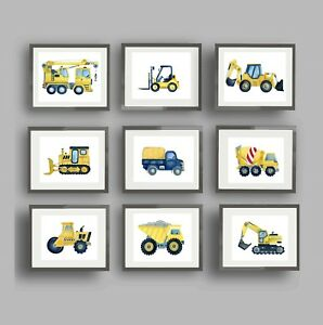 CONSTRUCTION CAR TONKA TRUCK art prints BABY BOY NURSERY WALL ART DECOR