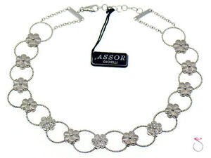 Diamond Flower Design Choker Necklace 18k Gold 0.70 ctw. By Assor Gioielli