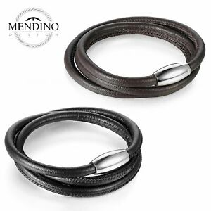 MENDINO Men#x27;s Stainless Steel Leather Bracelet Cuff Multi layer Magnetic Clasp