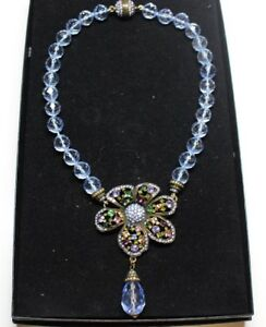 Heidi Daus Crystal Beaded Statement Necklace with Flower Pendant and Drop