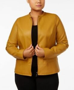 Alfani Women's Top Collar-Neck Faux-Leather Jacket Plus Size 1X MSRP $119.50