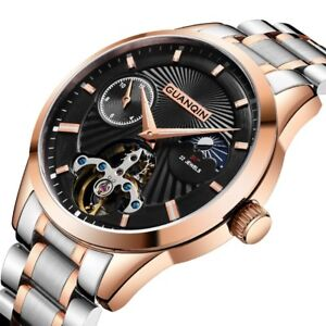 Tourbillon Automatic Mechanical Mens Watch Luxury Swiss Full Steel Sapphire Dial $111.31