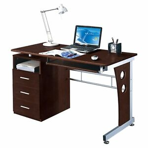 Computer Desk with Storage Drawers Home Office Furniture Chocolate Finish Desks