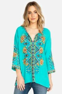 Johnny Was Nala deep scoop BRIE multicolor Embroidery cap sleeve tee cotton S
