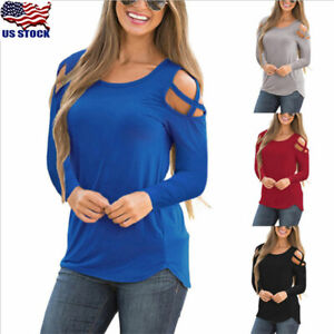 Fashion Women Sexy Solid Cold Shoulder Long Sleeve Casual Blouse Top T-Shirt USA