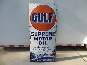 5x2 ft. rare antique org. Gulf Supreme Motor Oil wCar Graphic porcelain sign