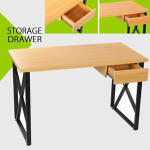Corner Computer Desk Laptop PC Table Wood Workstation Home Office With Drawer BE