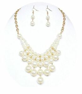Ivory Pearl Statement Necklace Set Gold Fashion Jewelry Boxed (#141)