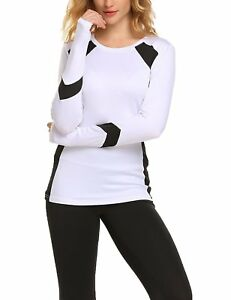 Fanala Women Long Sleeve Tee Top Athletic Running Yoga Fast Dry Fit T-Shirts L