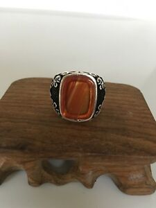 Turkish Handmade 925 Sterling Silver Agate Stone Ring Men's Sz 11