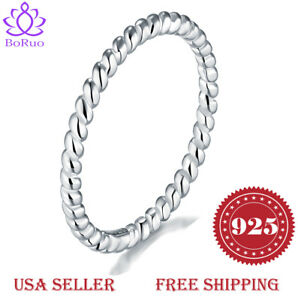 BORUO 925 Sterling Silver Ring Eternity Rope Comfort Fit Wedding Band Size 4-12