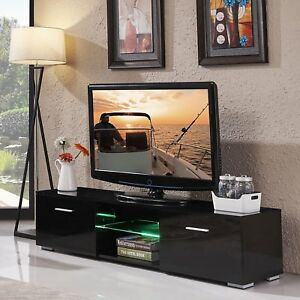 High Gloss Black TV Stand Cabinet with Remote Control LED Shelves 2 Drawer BT
