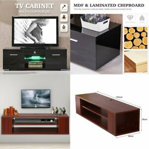 High Gloss TV Stand LED Shelves Unit Cabinet 2 Drawers Console Furniture BT