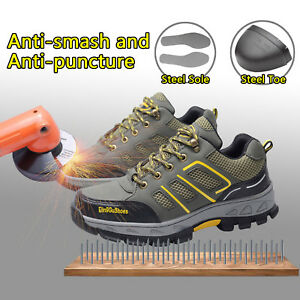 Men's Safety Shoes Steel Toe Sole Breathable Work Hiking Boots Waterproof fromUS
