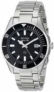 Bulova Marine Star Men's 98B203  Black Dial Silver-Tone Bracelet 43mm Watch