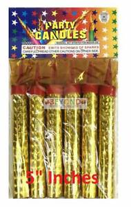 6ct Birthday Wedding Bottle 5quot; Small Party Gold Sparkling Candles Outdoor only