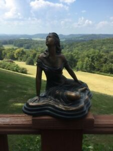 Vintage Faux Bronze Ceramic Lady Woman Sitting Statue Sculpture Austin Heath