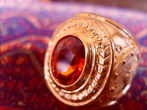 Mens Fine Jewelry - Royal Big Ring 20Kt Yellow Gold Uneated Spessartite Garnet