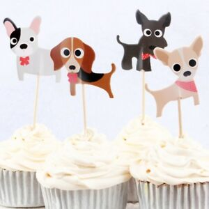 Cute Dogs Puppies Cupcake Double-Sided Toppers/Food Picks Set Of 24