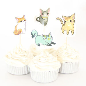 Cute Cats Kittens Cupcake Double-Sided Toppers/Food Picks Set Of 24