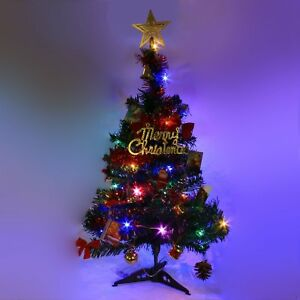 2 FT Tabletop Artificial Small Mini Christmas Tree with LED Light amp; Ornaments